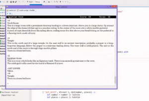 Screen shot of Dustin Campbell's text adventure game compiler