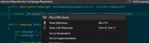To debug or edit a LINQ query, use the right-click menu.