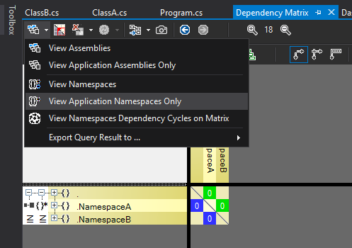 The dependency matrix filtering dropdown